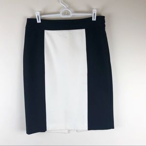 WHBM Black & Cream Color Block  Pencil Skirt Sz 10